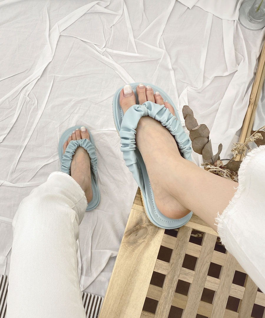 D - 셔링 쪼리 뮬 슬리퍼 - l9473[3color]